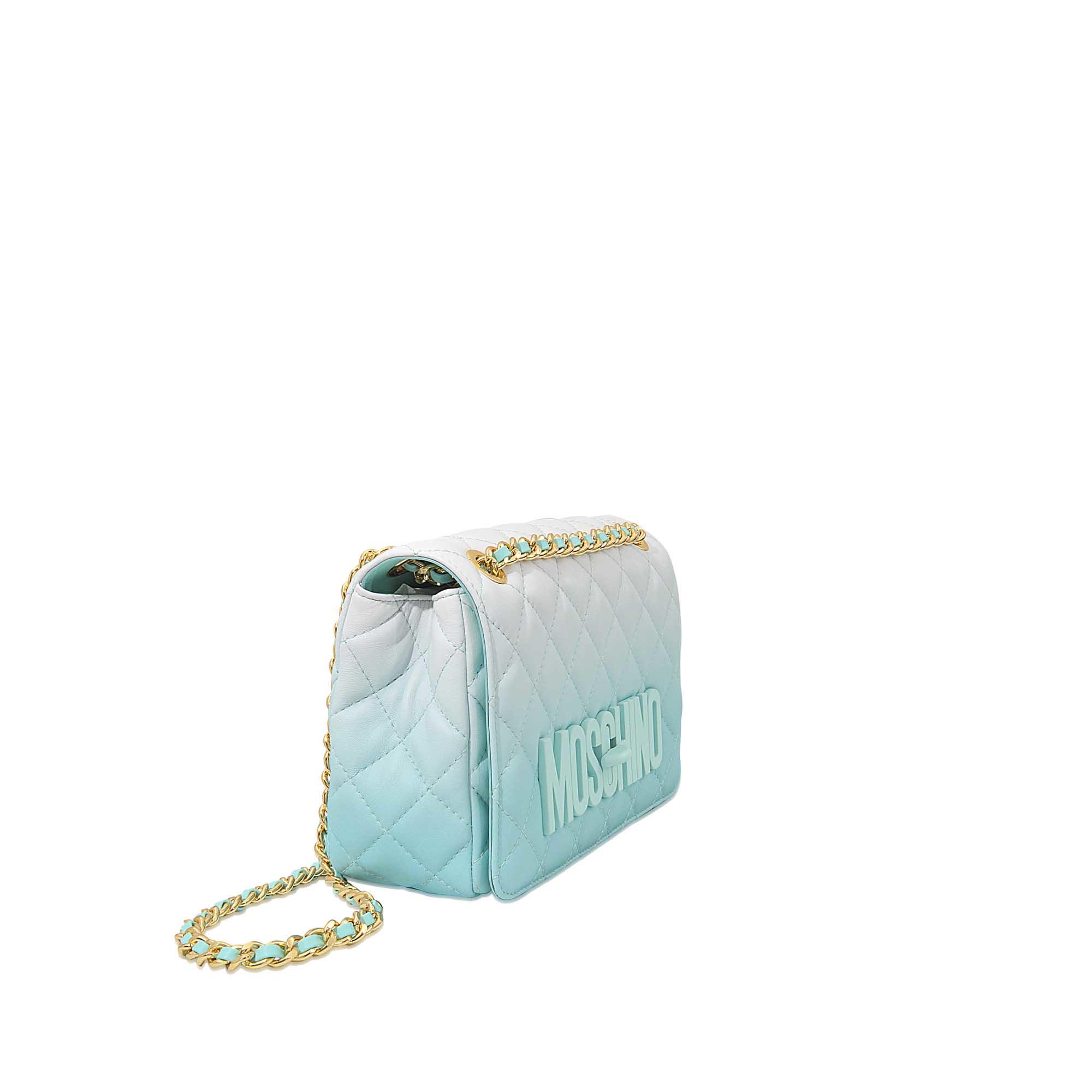 4c1940e374 Moschino Dégradé Medium Quilted Flap Bag in Blue - Lyst