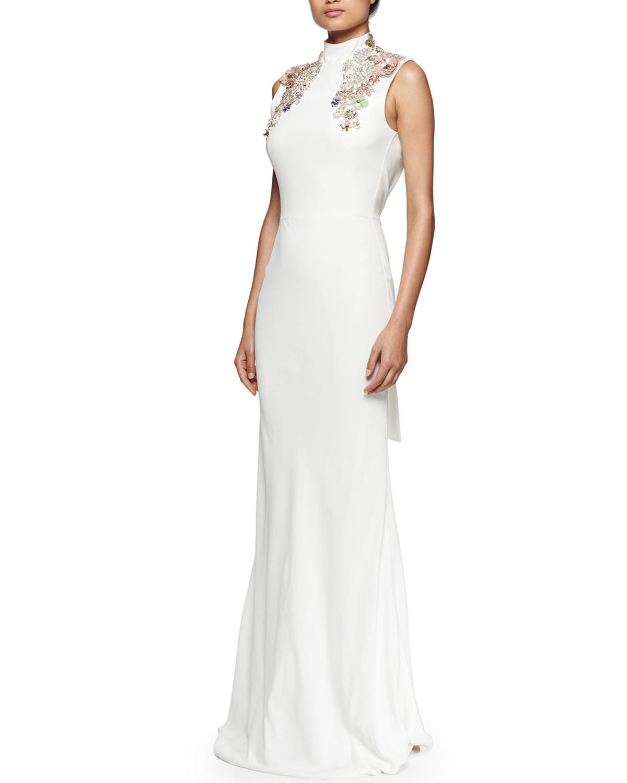 White plunging back dress