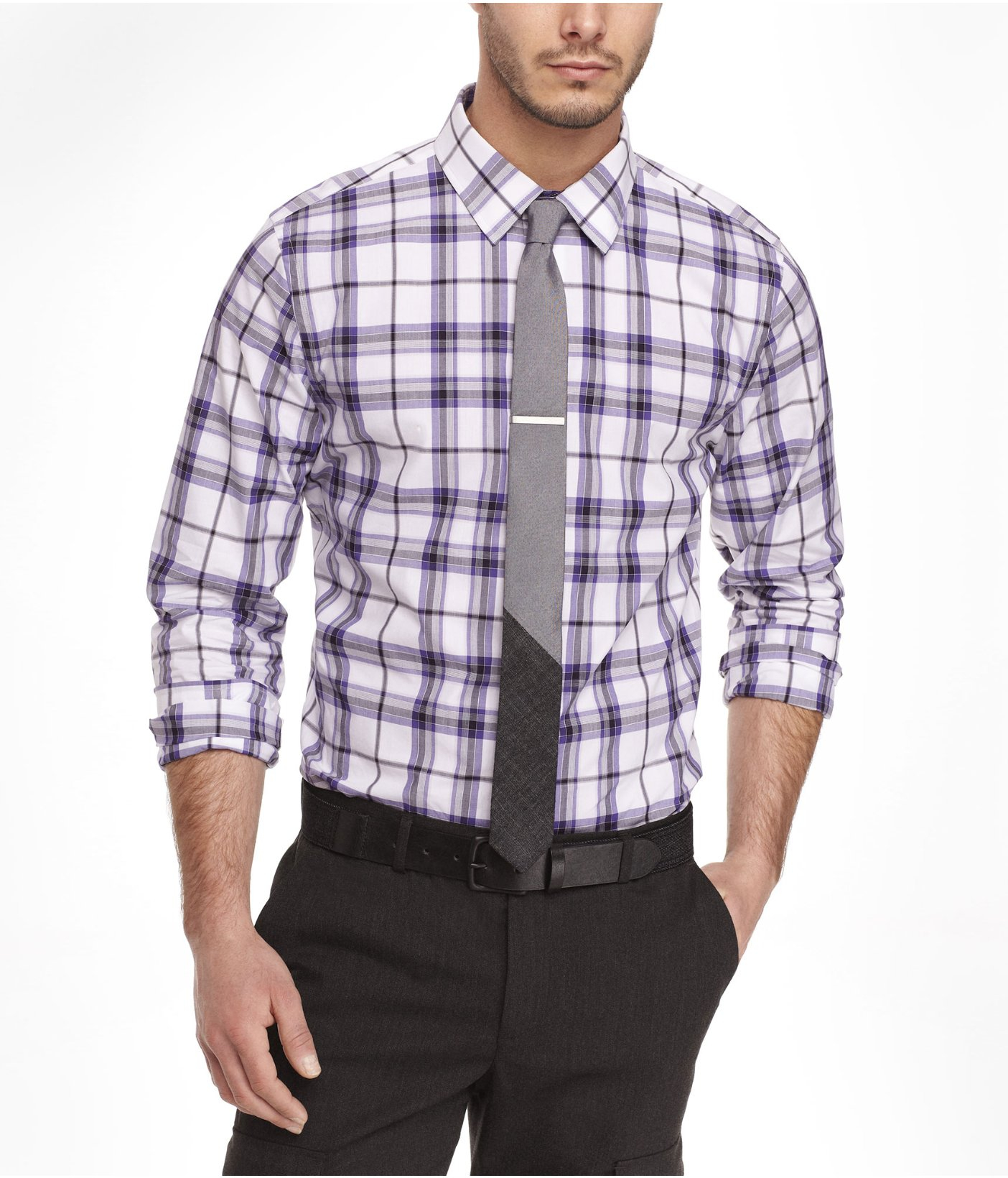 Lyst Express Extra Slim Plaid Shirt In Purple For Men