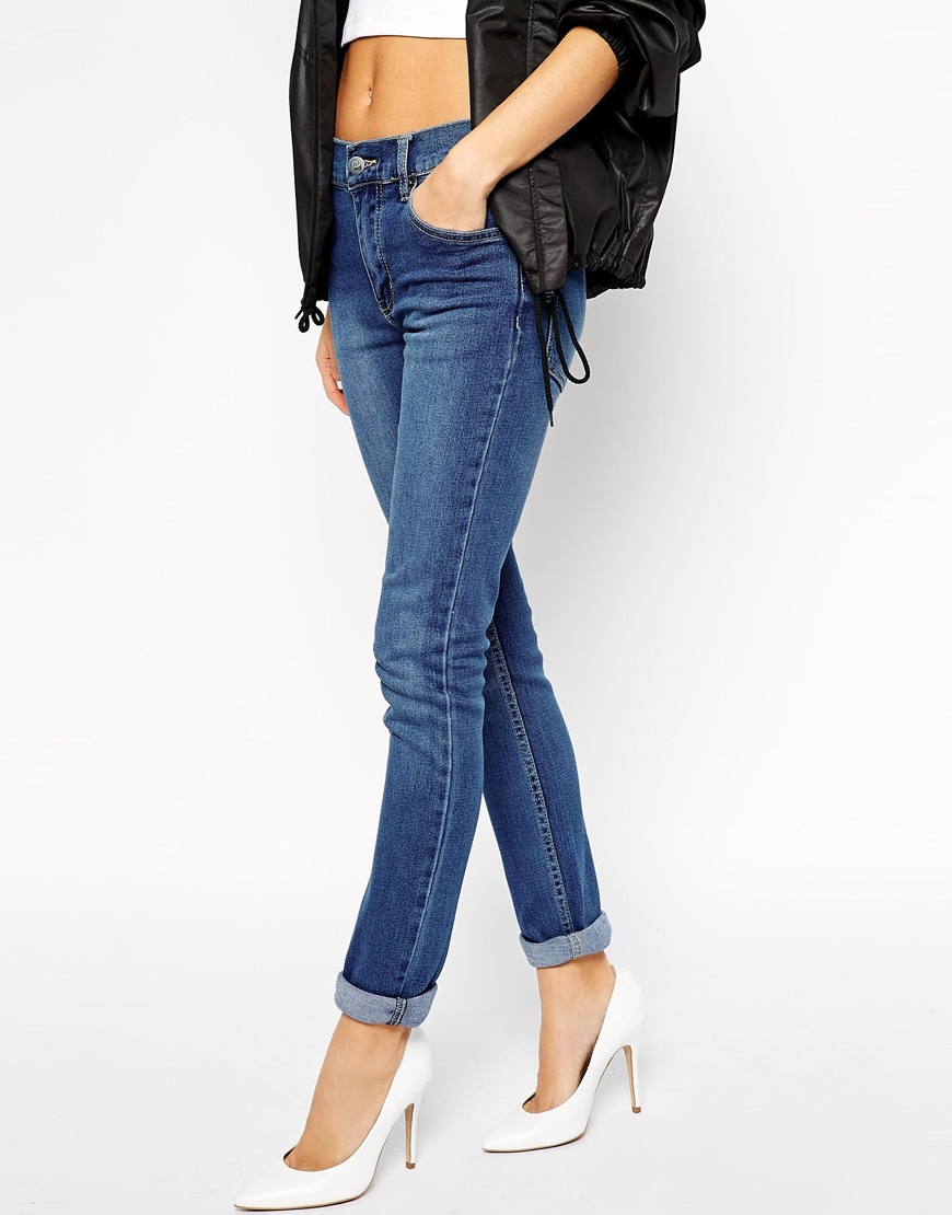 cheap monday tight skinny jeans in blue lyst. Black Bedroom Furniture Sets. Home Design Ideas