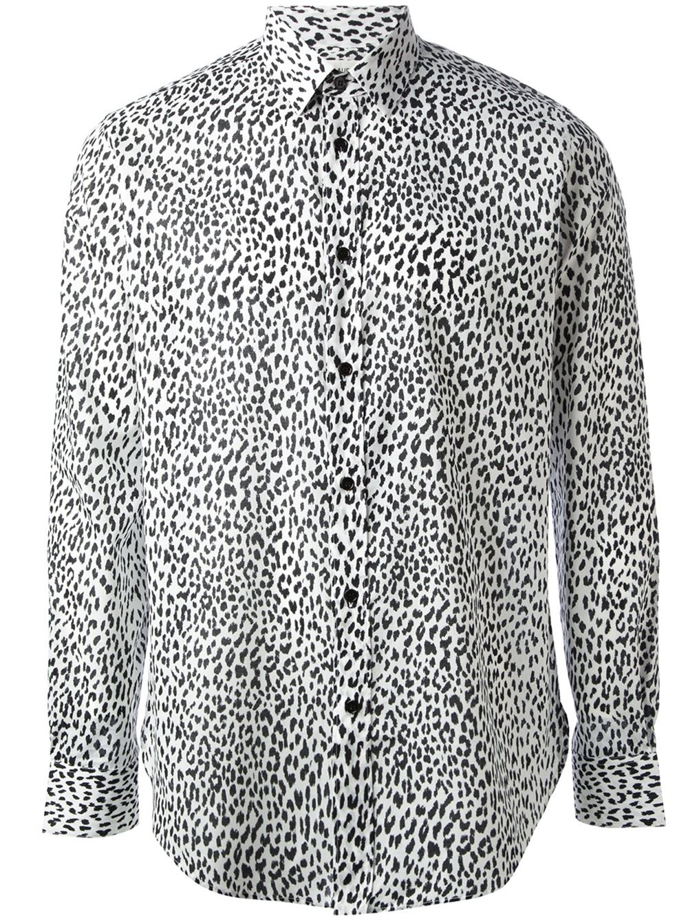 08a9b04e2f Saint Laurent Leopard Print Shirt in Black for Men - Lyst