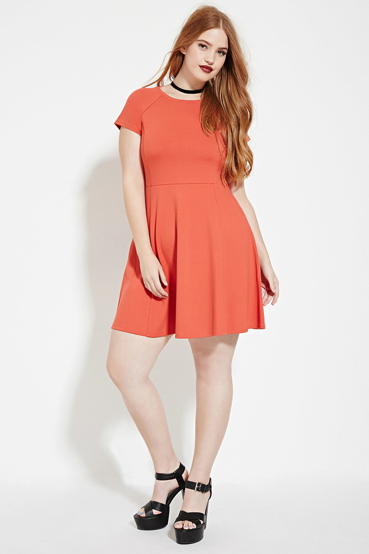 Forever 21 Plus Size Fit And Flare Dress in Orange - Lyst