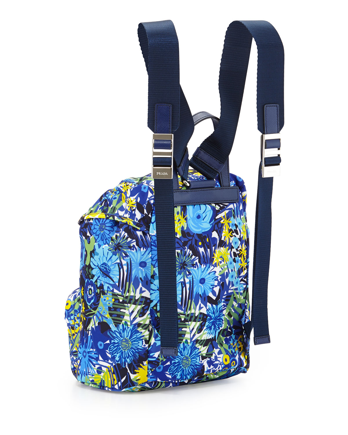 Prada Nylon Small Floral-Print Backpack in Blue | Lyst