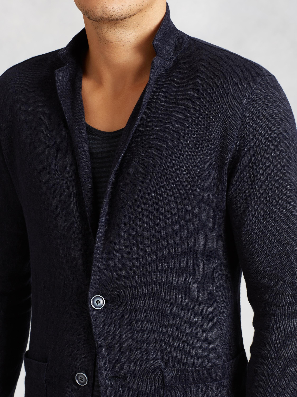 John varvatos Patch Pocket Sweater Blazer in Blue for Men | Lyst