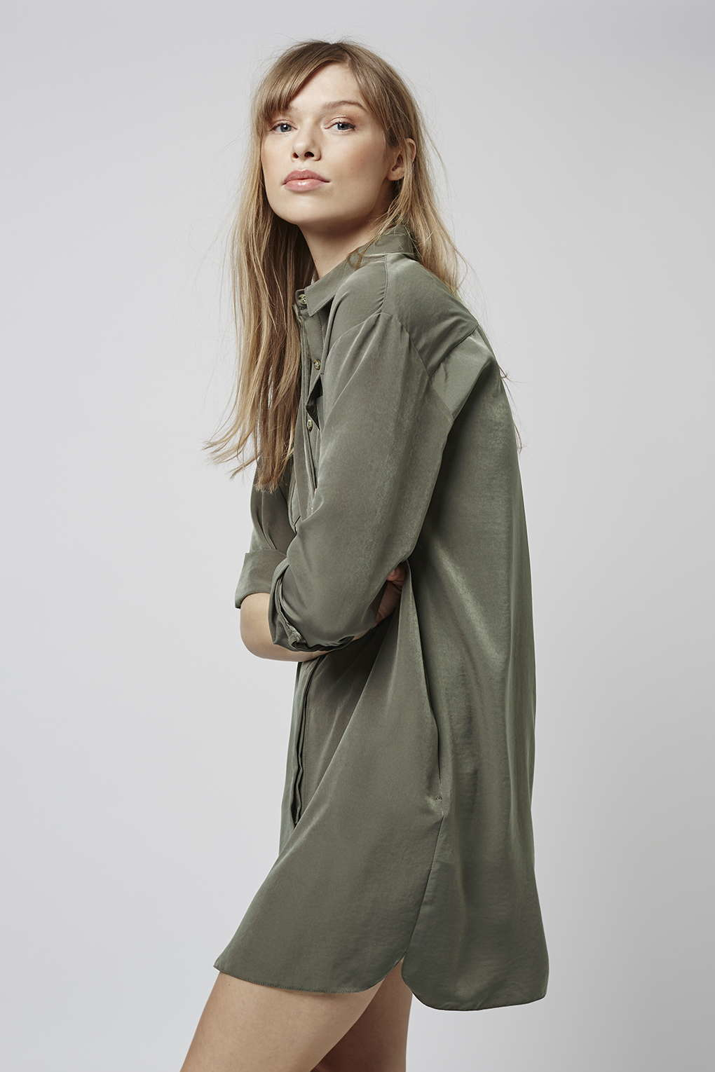 251e154455a9 TOPSHOP Oversized Cupro Shirtdress in Green - Lyst