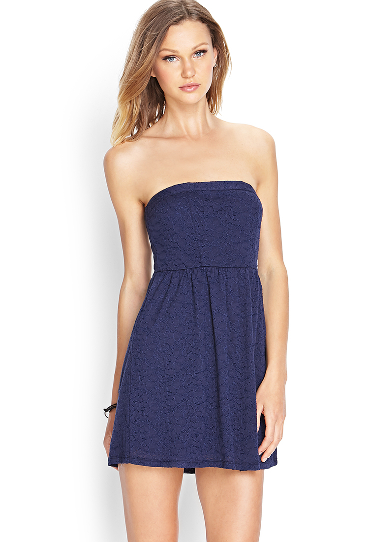 Forever 21 Crochet Lace Mini Dress In Navy Blue Lyst