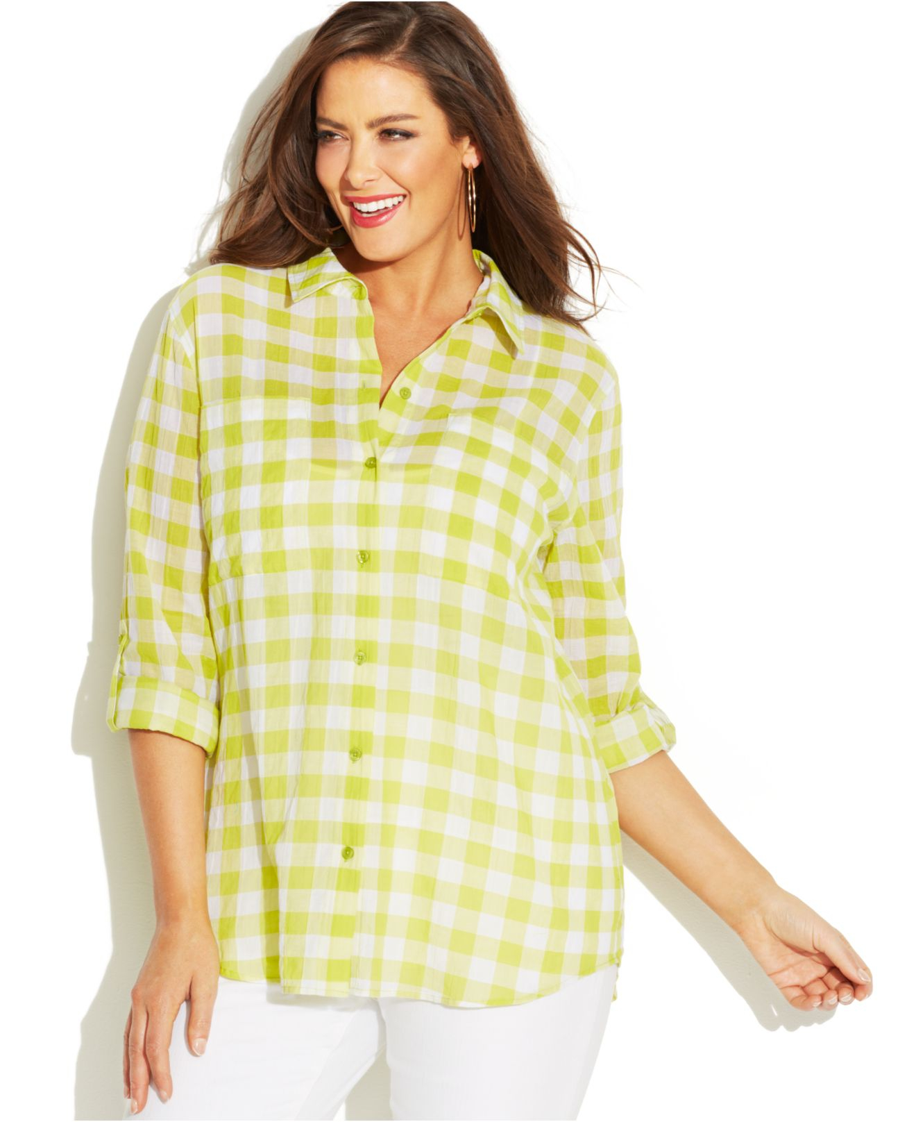 Lyst michael kors michael plus size tab sleeve gingham for Womens green checked shirt