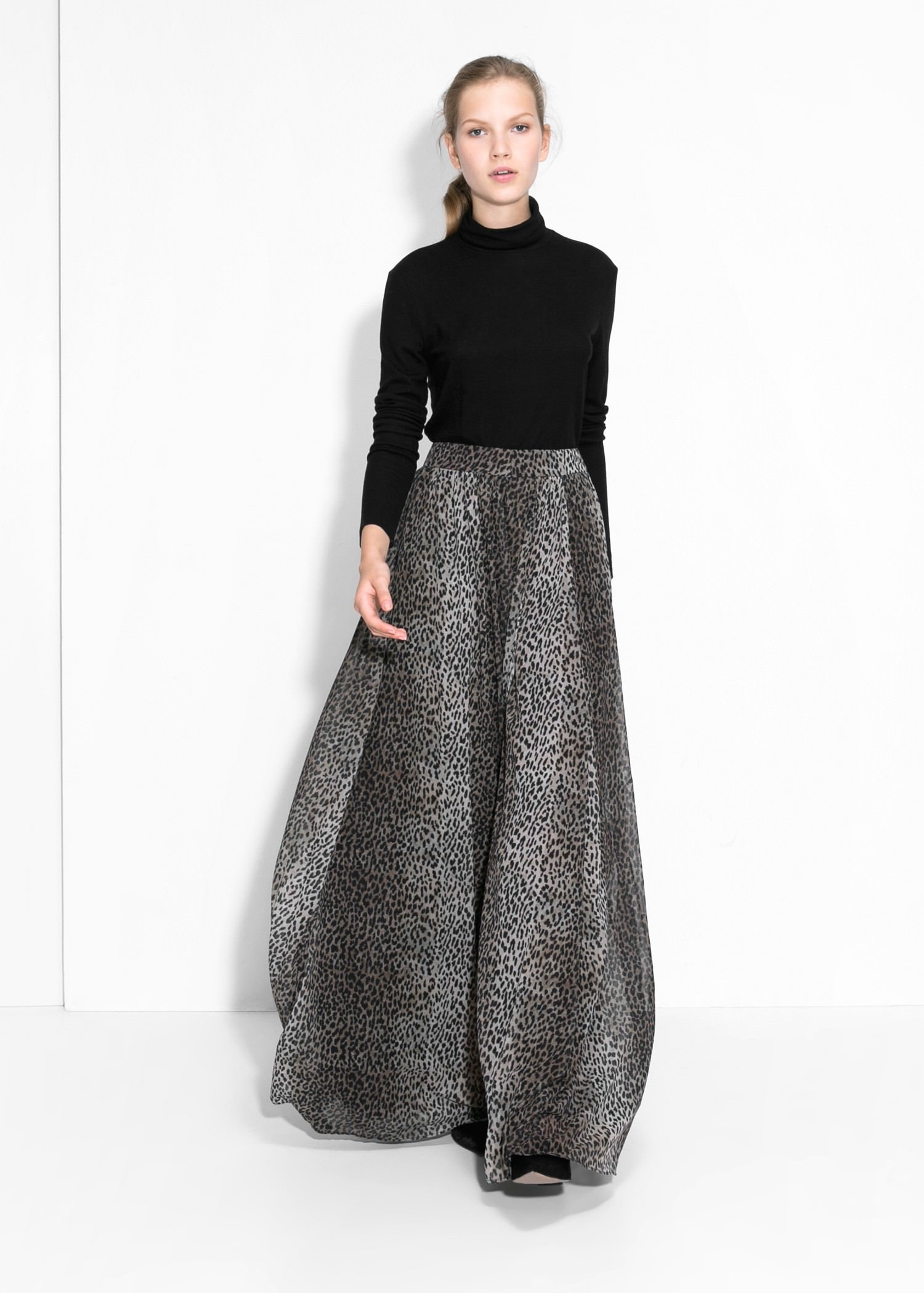 Mango Leopard Print Long Skirt In Black Lyst