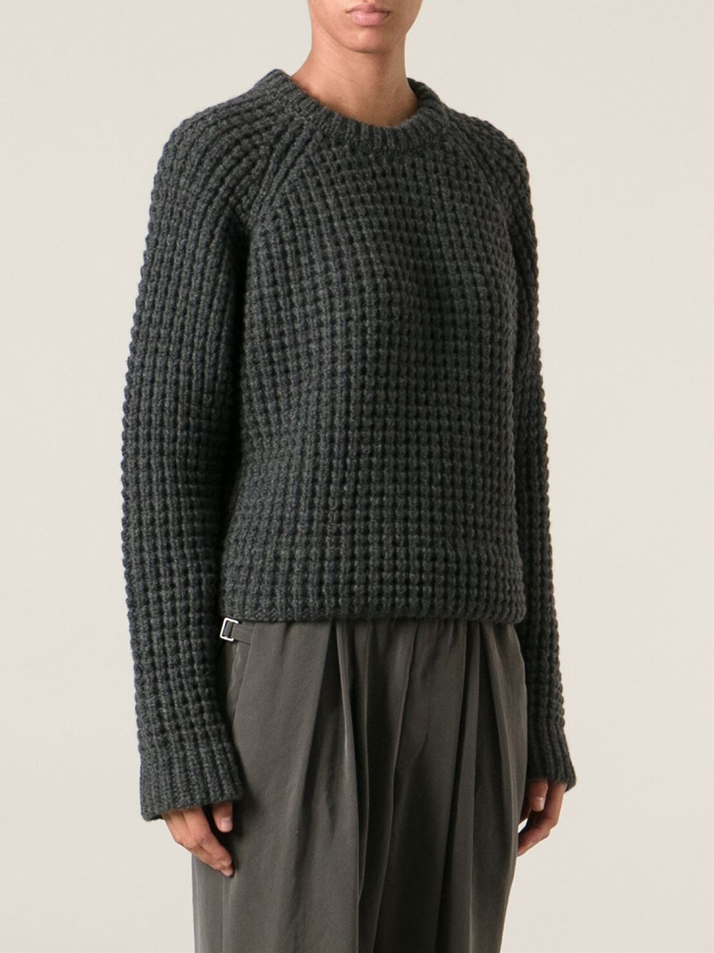 haider ackermann ribbed oversize sweater in gray lyst. Black Bedroom Furniture Sets. Home Design Ideas