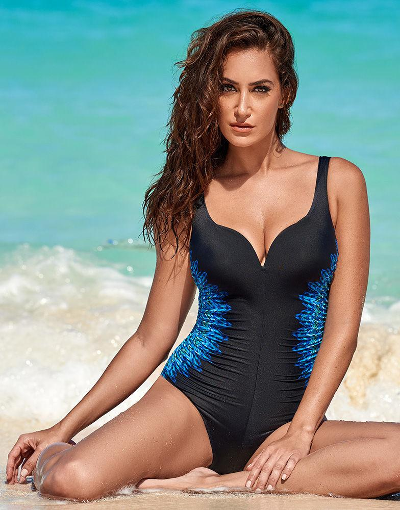 09a4367f01d Miraclesuit Temptress Knit Pick Firm Control Swimsuit in Black - Lyst