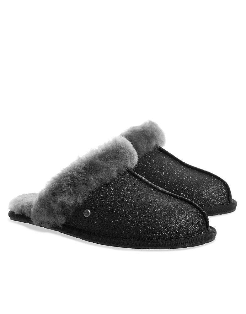 5199452eec3 Ugg Scuffette Sparkle Sheepskin Slipper in Black - Lyst
