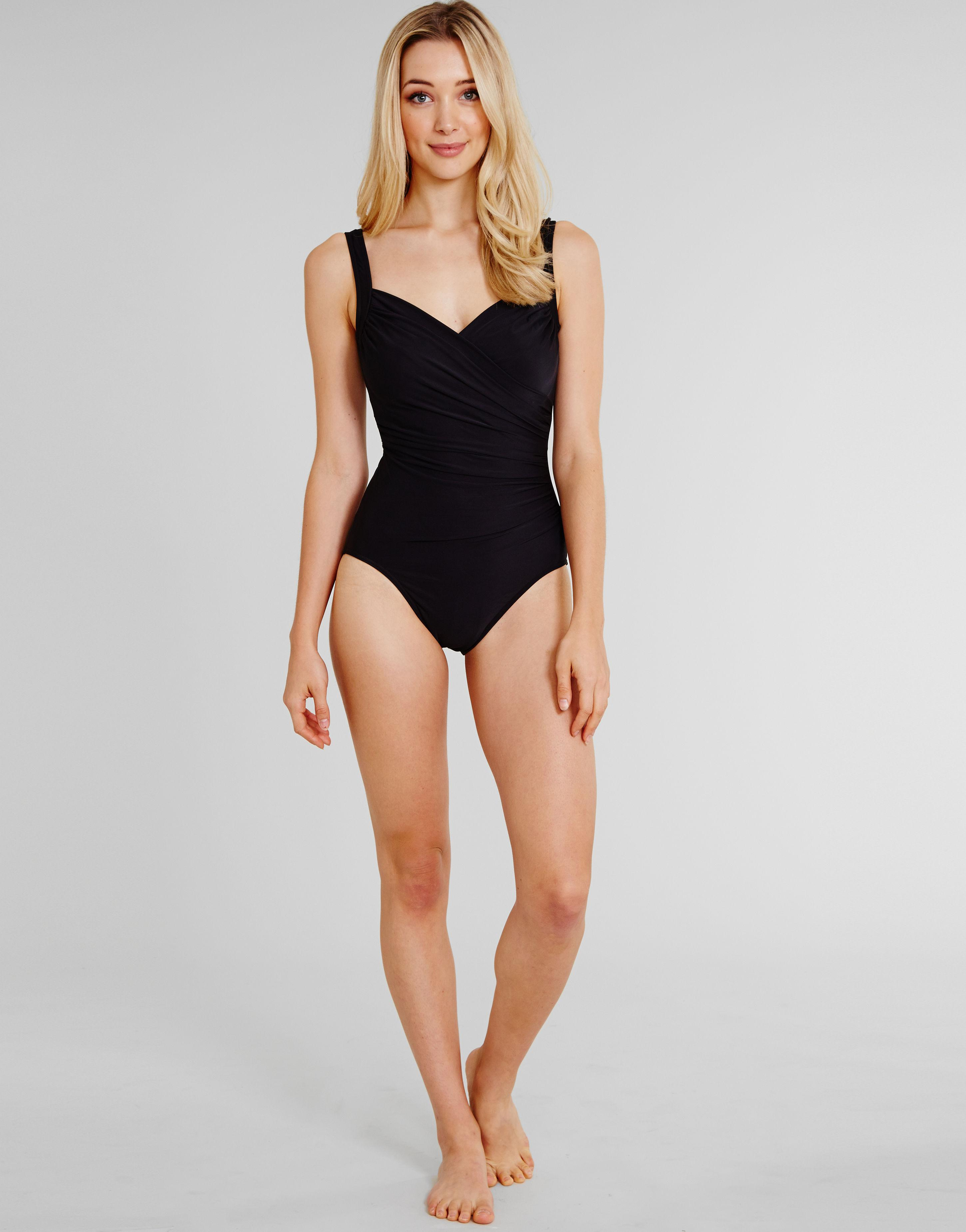 70b35b03bd0 Miraclesuit Must Haves Sanibel Underwired Firm Control Swimsuit in Black -  Lyst