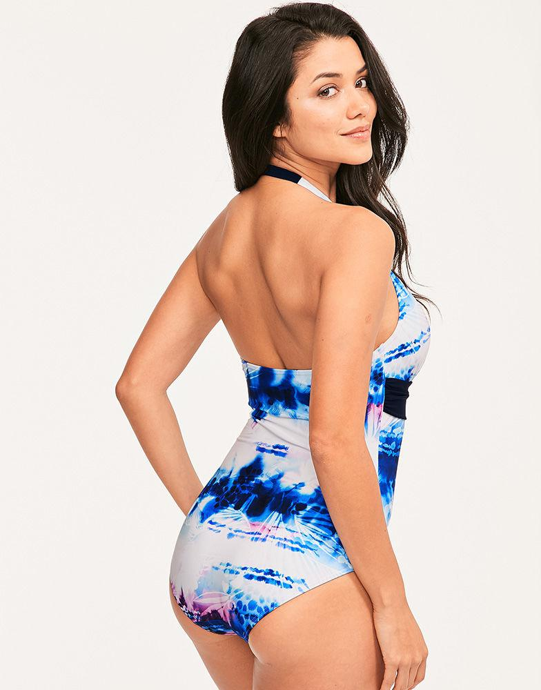 07d78d8454d Figleaves Layla Halterneck Tummy Control Swimsuit in Blue - Lyst