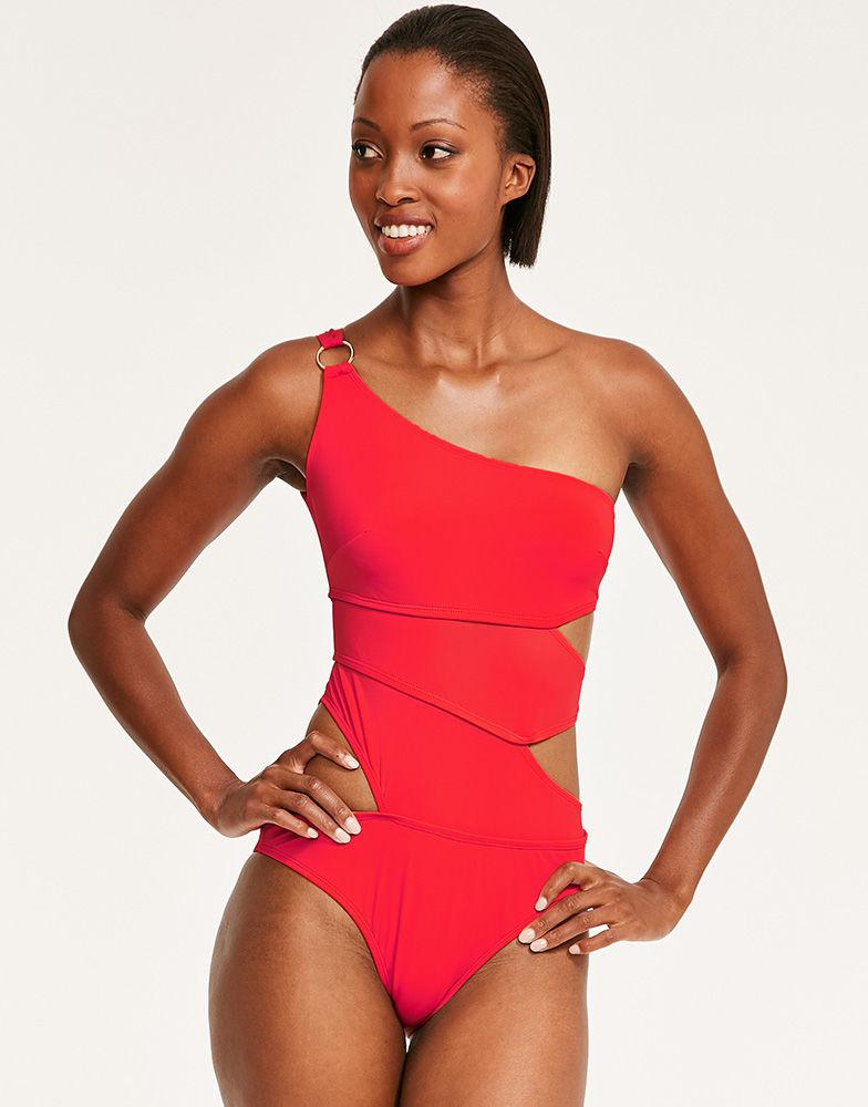 9ef8502e8904b Bluebella Amber Davies Samar One Shoulder Cut Out Swimsuit in Red - Lyst