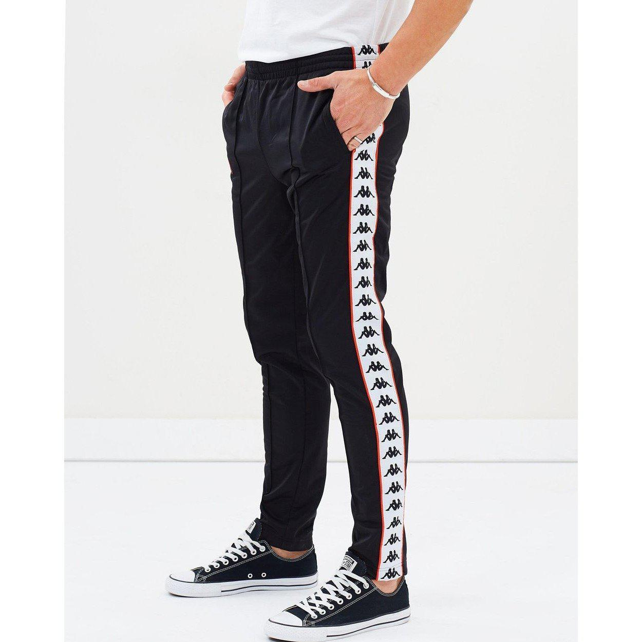 082df1cc Men 222 Banda Astoria Slim Track Pants, Black/ White/ Red Orange