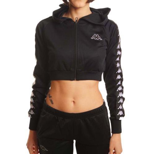 acf20c87458 Kappa Women 222 Banda Arakli Crop Hooded Jacket, Black in Black - Lyst