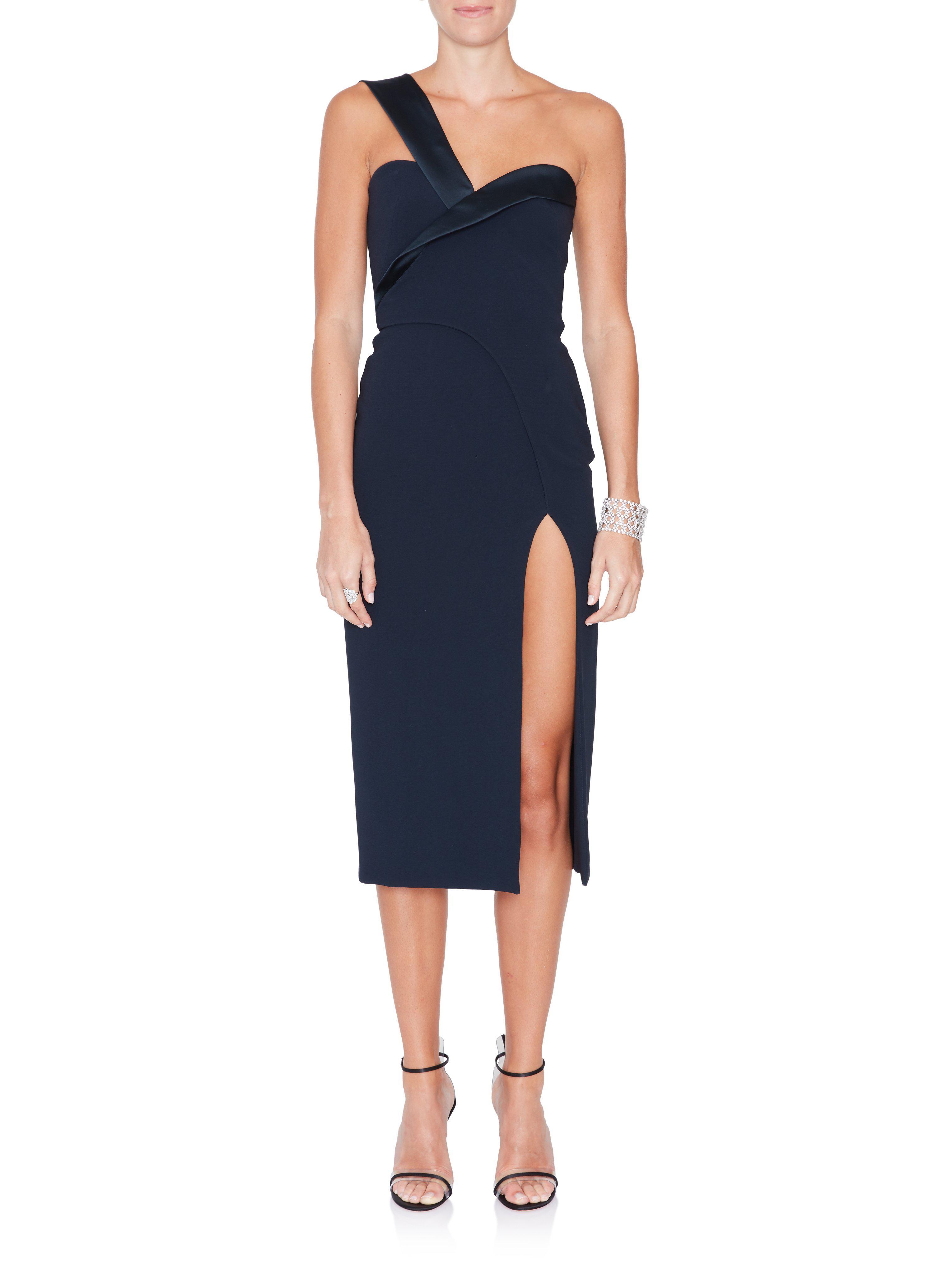 36b7f9d75f5 Lyst - Brandon Maxwell One-shoulder Crepe Satin Dress in Blue