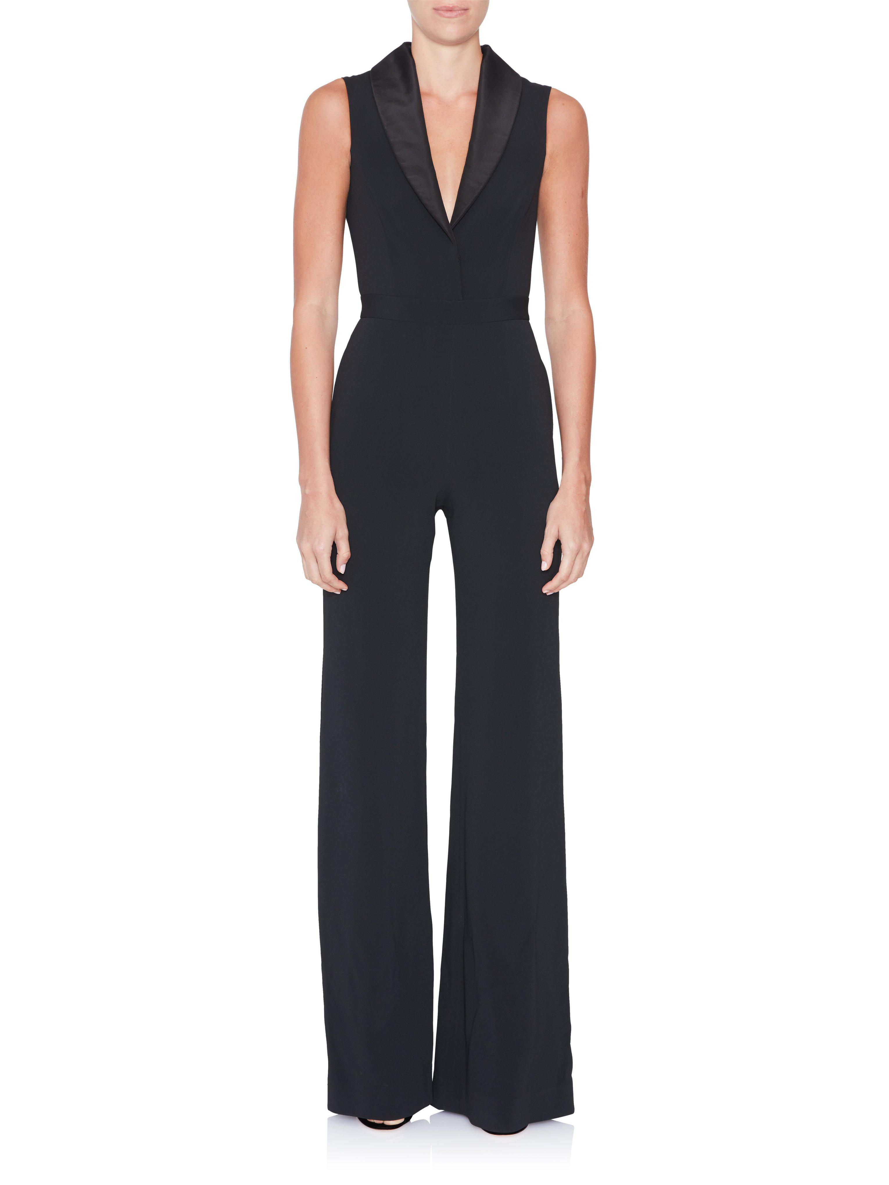 28c286e3781b Lyst - Brandon Maxwell Sleeveless Shawl Collar Jumpsuit in Black