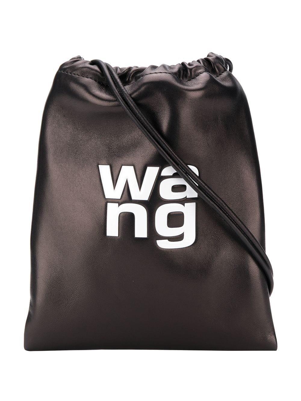 Women S Black Leather Embossed Logo Drawstring Bag By