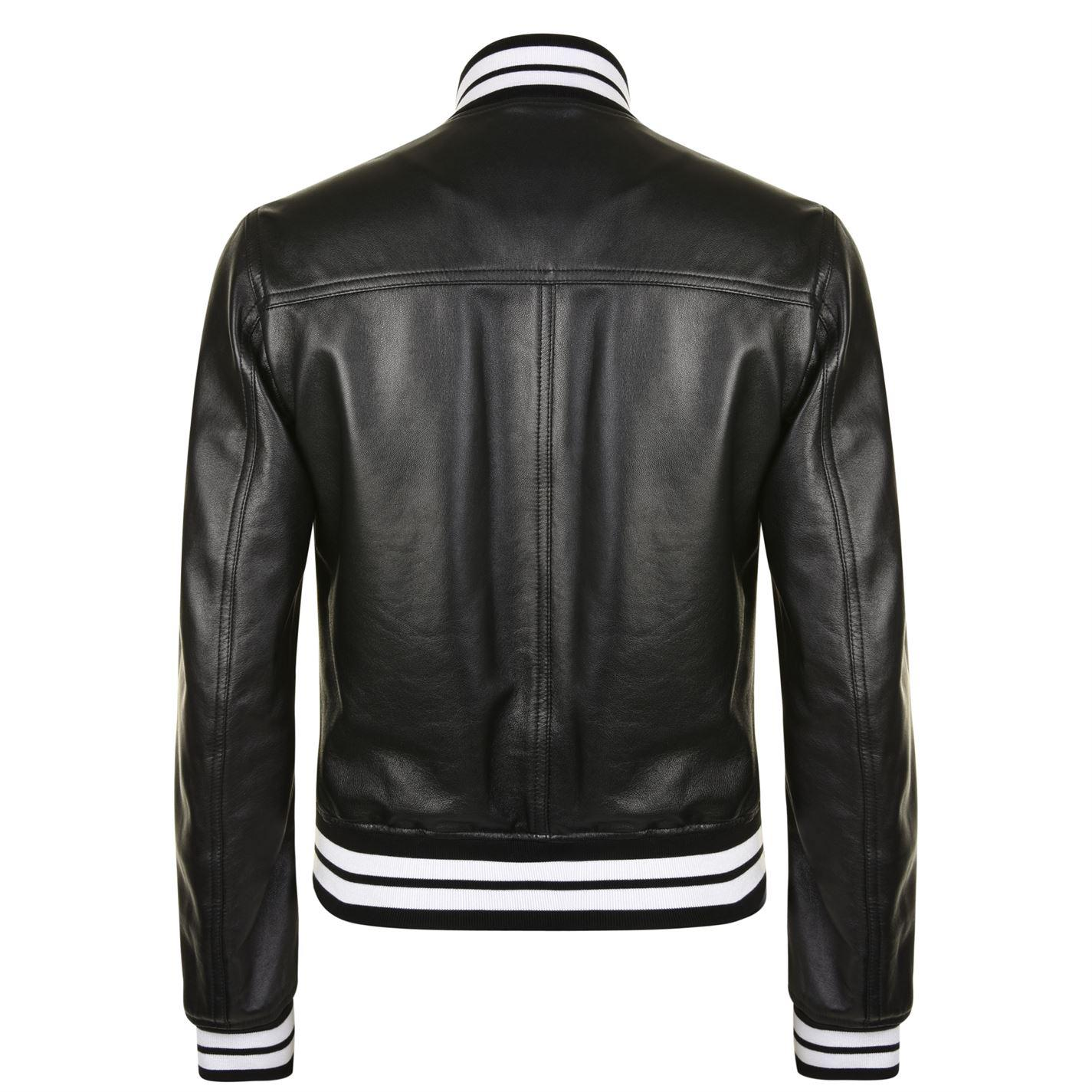 Dolce & Gabbana King Ace Leather Bomber Jacket in Black for Men