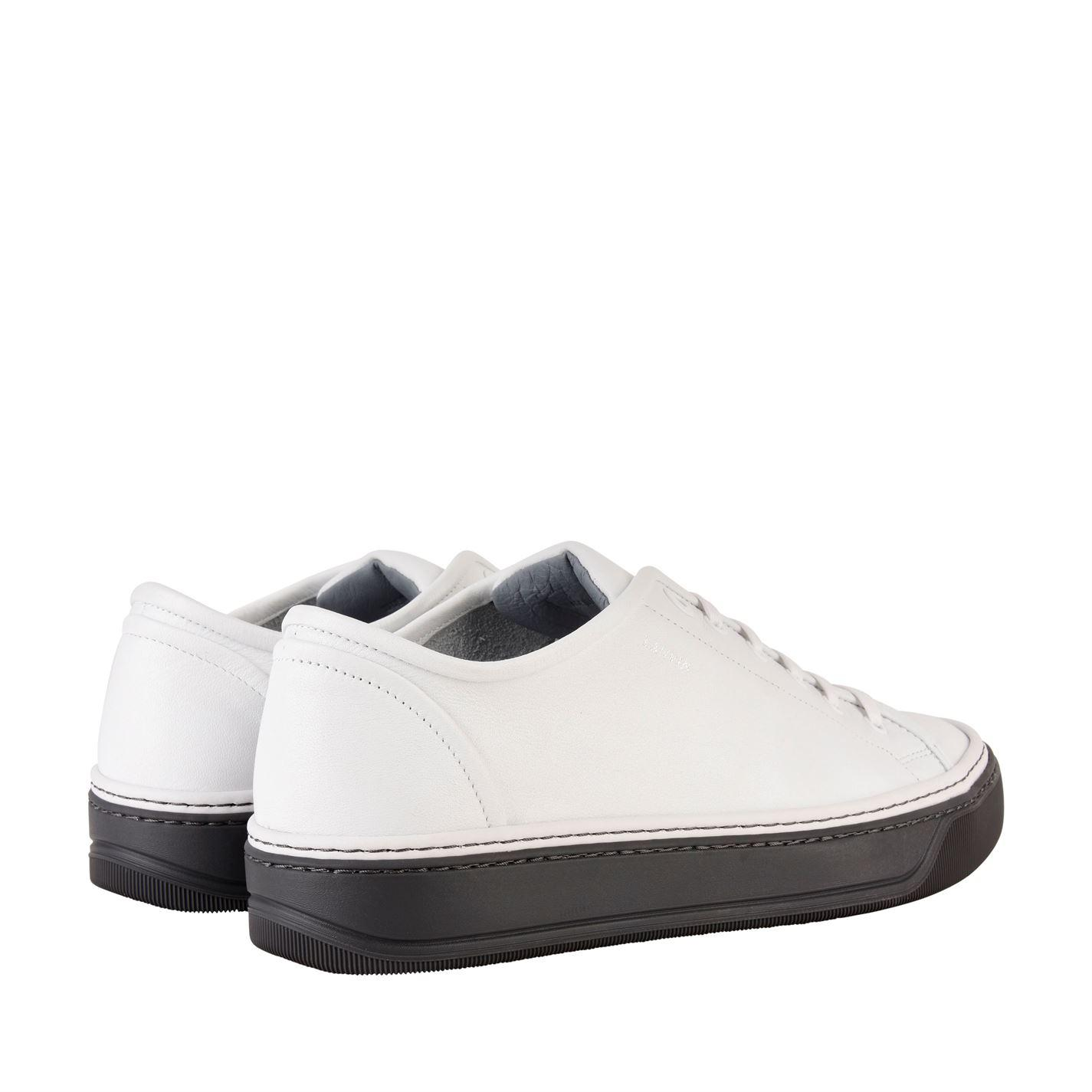 Lanvin Leather Unlined Low Trainers in White for Men