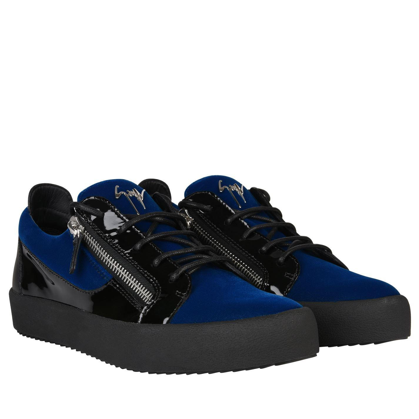 cd05b0f4d459a Giuseppe Zanotti May Velvet Panel Low Top Trainers in Blue for Men ...