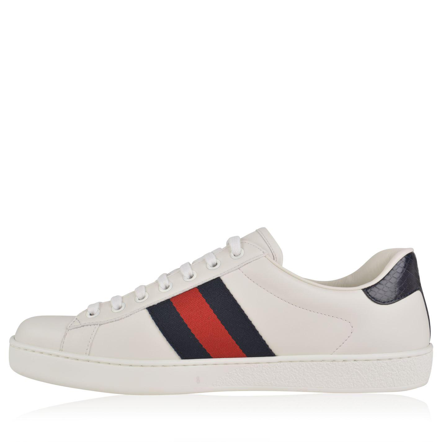 Gucci Leather New Ace Web Trainers in