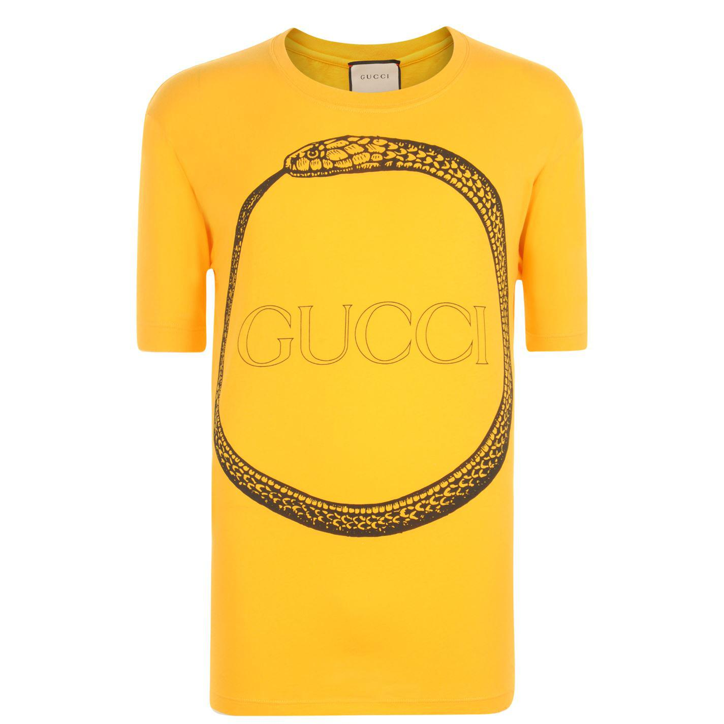 3cbb3d7a80e Lyst - Gucci Snake Logo T Shirt in Yellow for Men