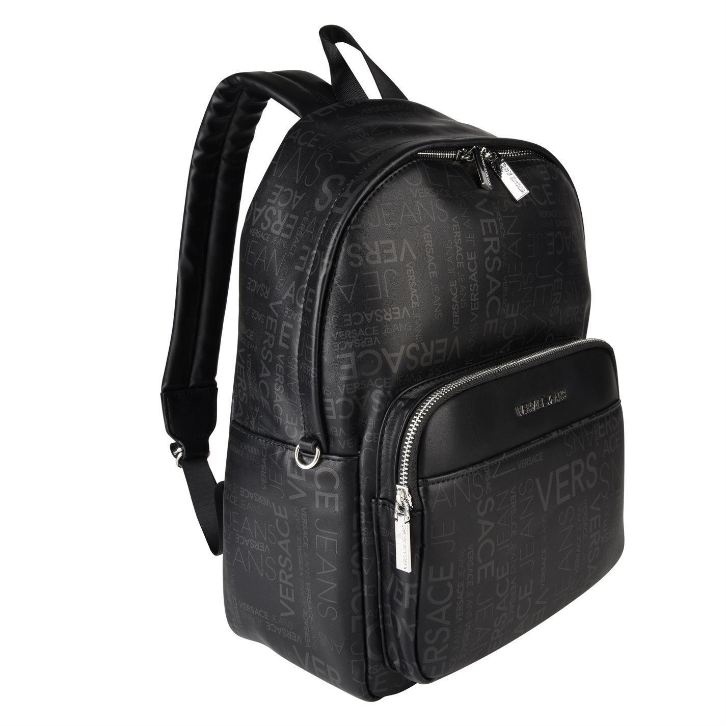 Versace Jeans Couture Denim Logo Print Backpack in Black for Men