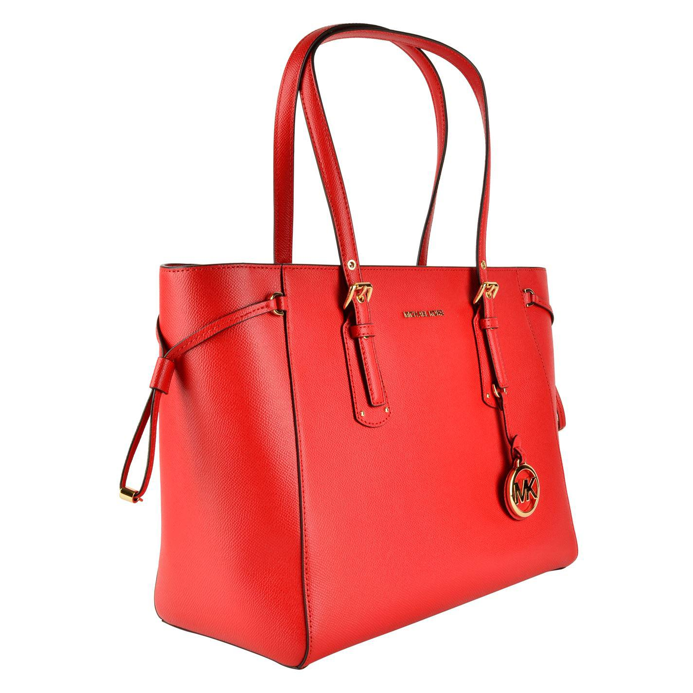 MICHAEL Michael Kors Leather Voyager Tote Bag in Red