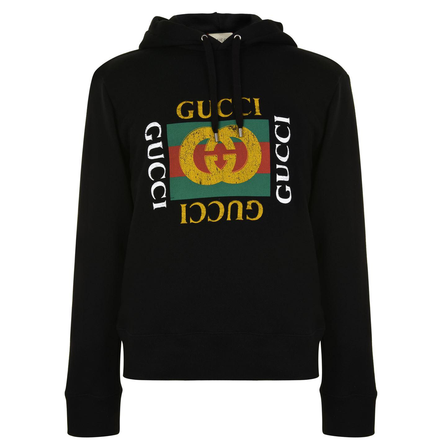 f42891fd117 Gucci Logo-print Hooded Cottons Sweatshirt in Black for Men - Save 8 ...