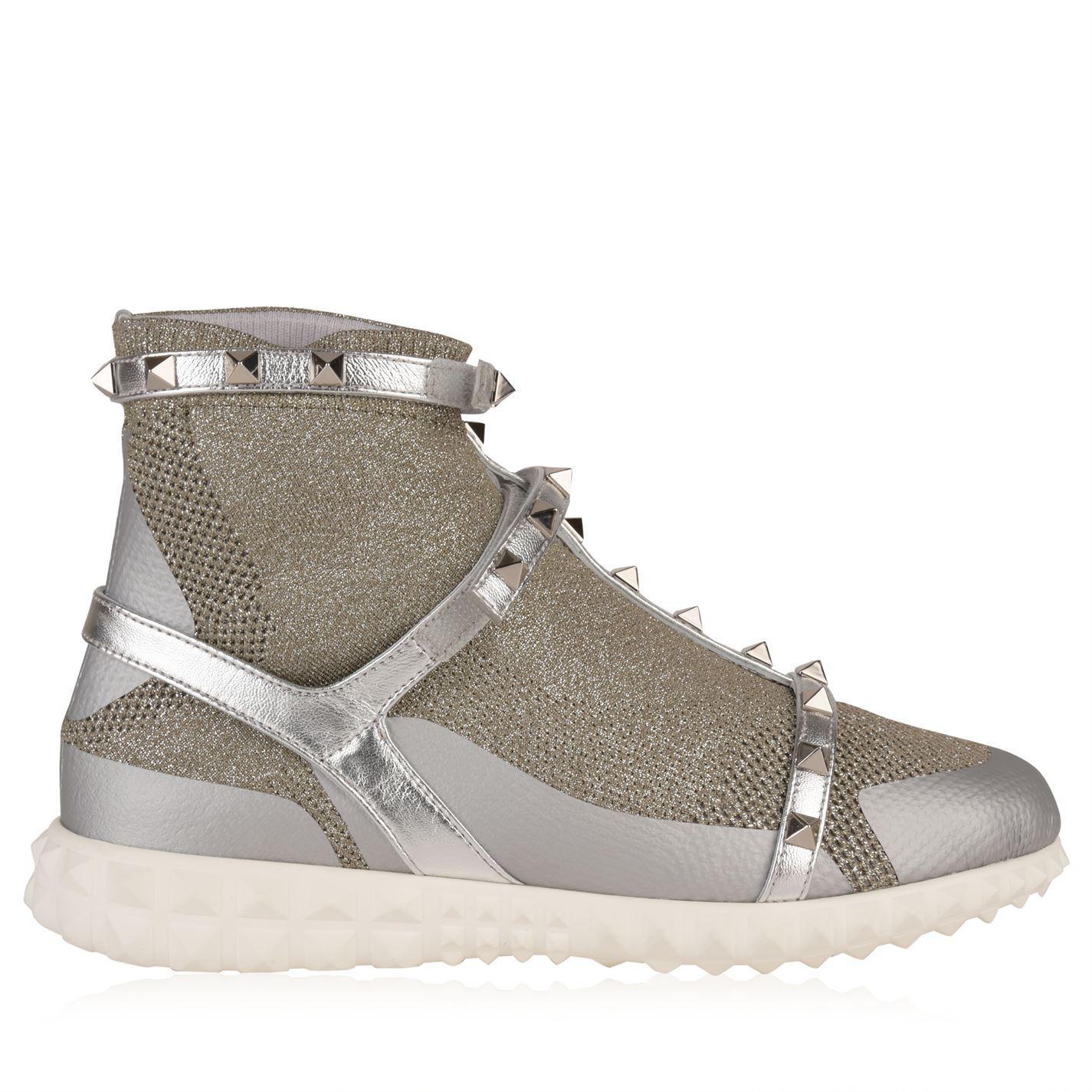 Valentino Leather Rockstud Sock