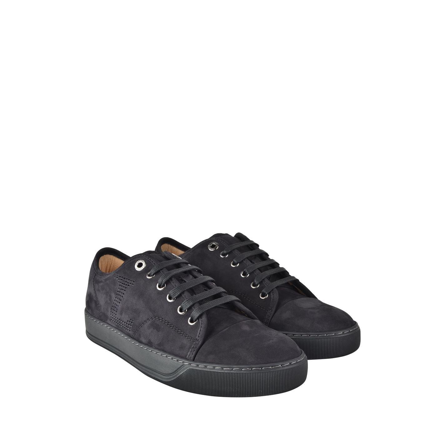 Lanvin Suede Nubuk Low Top Trainers in Black for Men