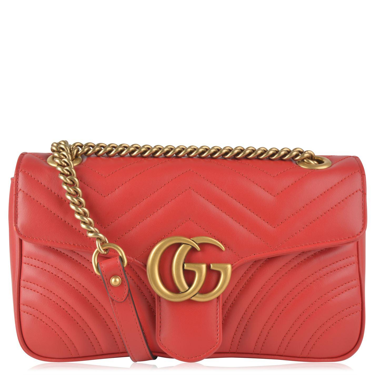 40fe3c9fc62 Lyst - Gucci Mini Gg Marmont 2.0 Quilted Leather Bag in Red - Save 28%