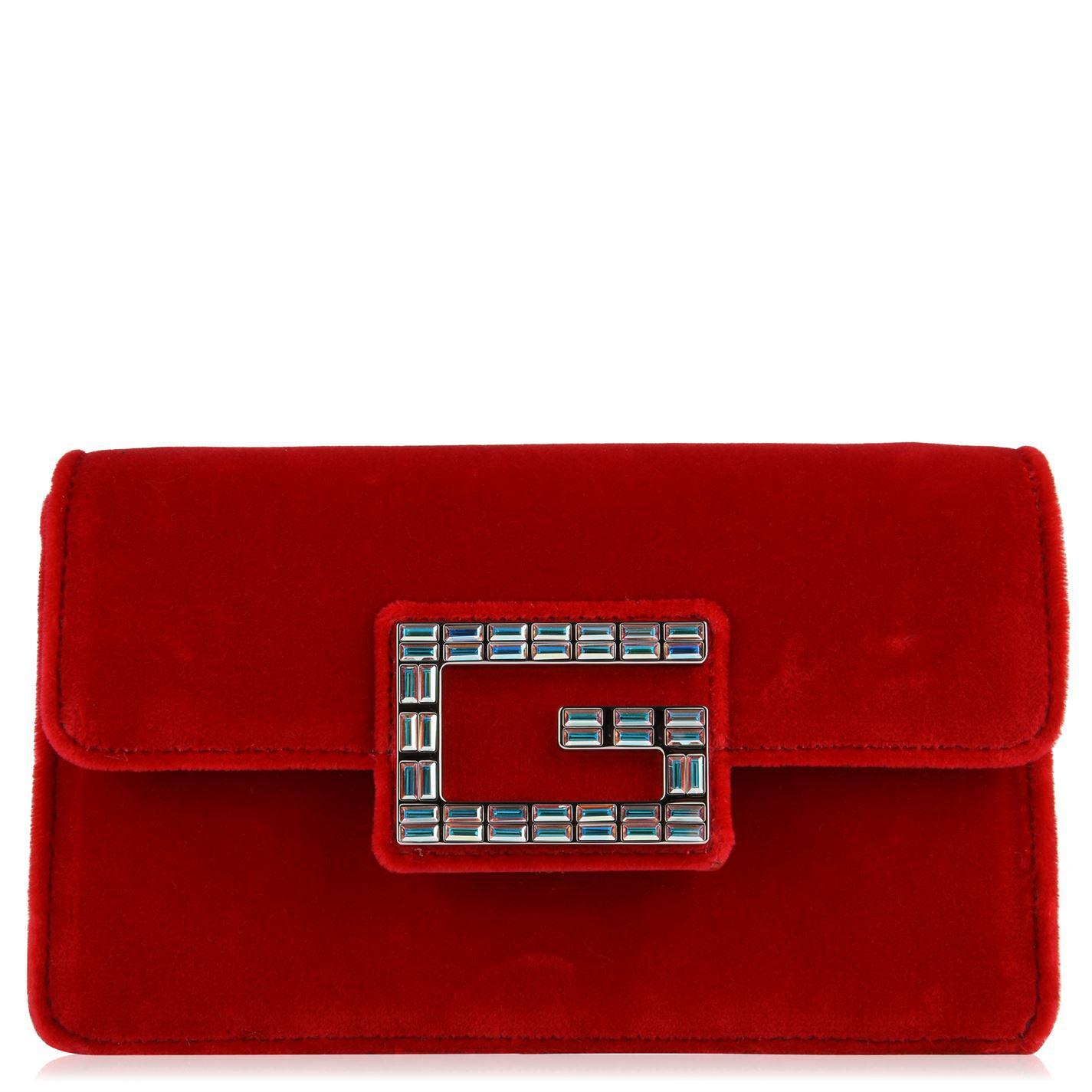 b6408cd8a3d Lyst - Gucci Broadway Velvet Bag in Red