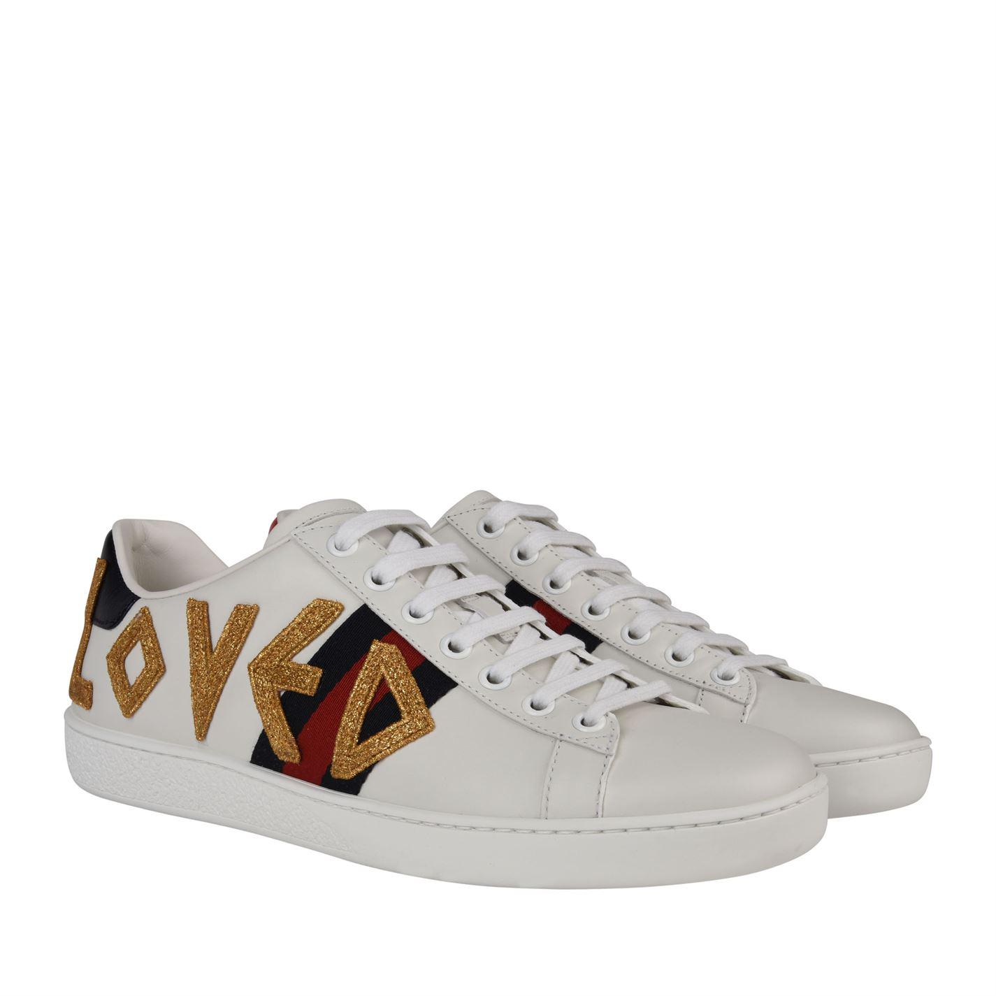 Gucci Leather Loved Webbed Trainers in