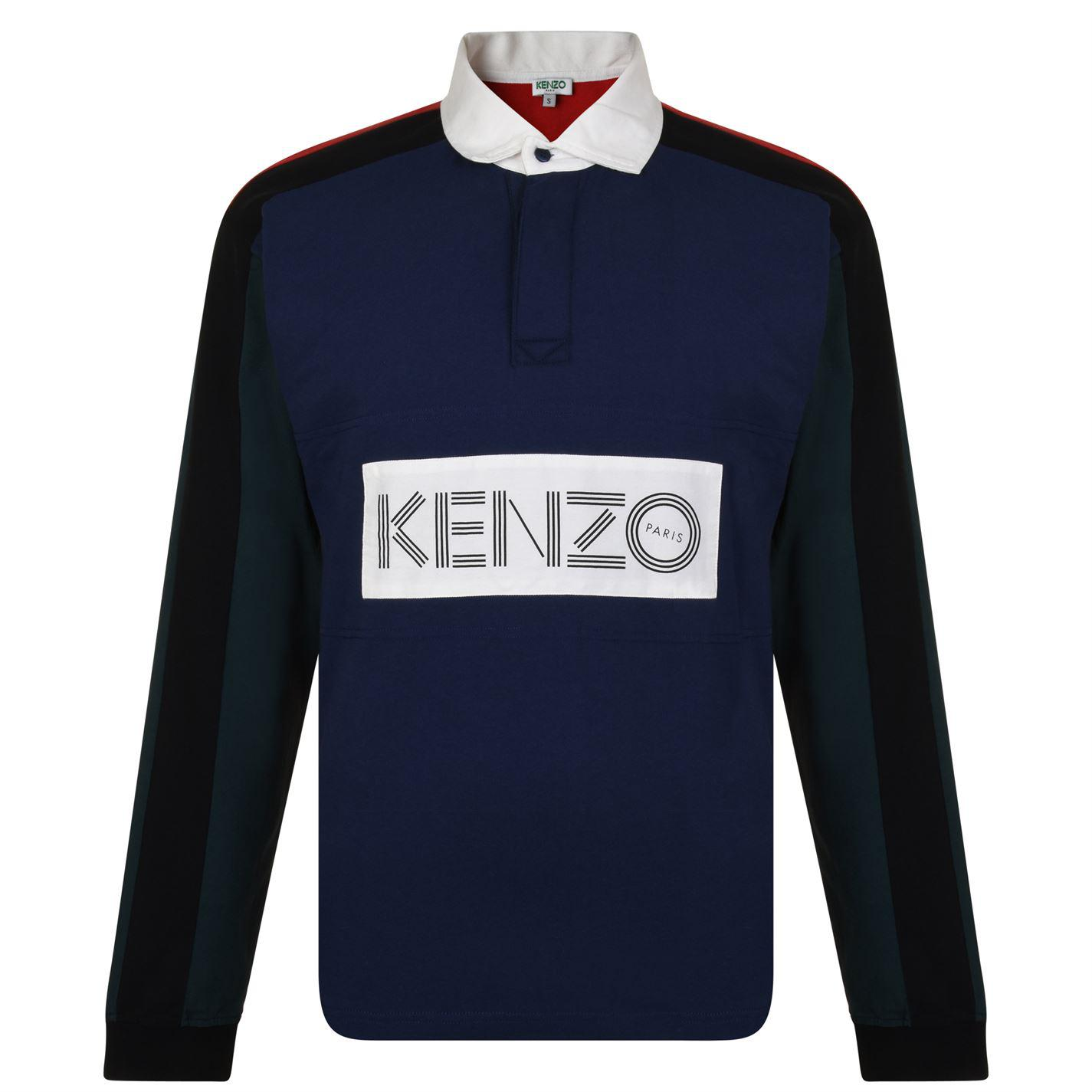 47dd5019bb KENZO Rugby Long Sleeved Polo Shirt in Blue for Men - Lyst