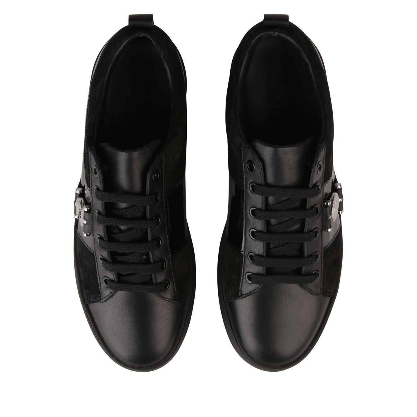 Versace Leather Medusa Nickel Logo Trainers in Black for Men