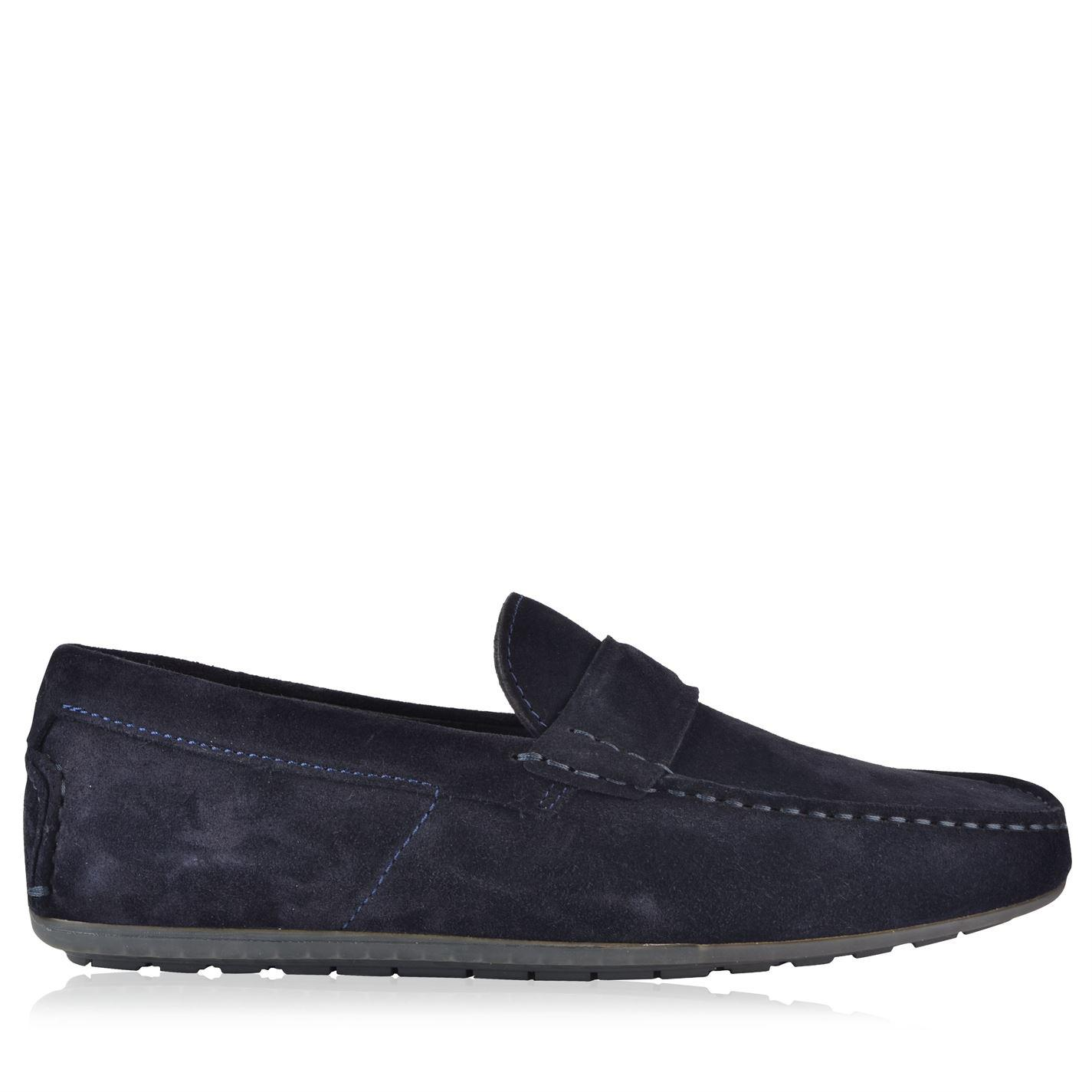 HUGO Suede Dandy Loafers in Navy (Blue