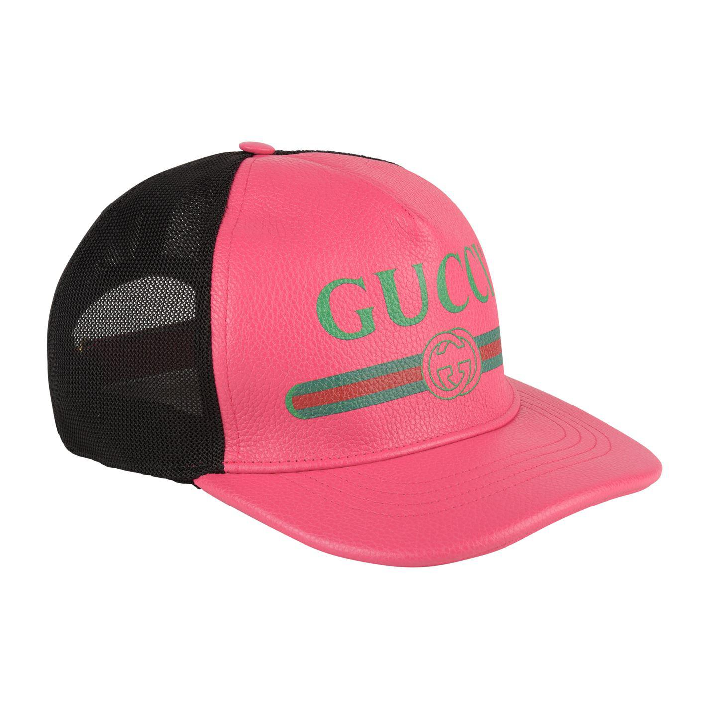 36906db1ffe Gucci Logo Leather Cap in Pink - Save 44% - Lyst