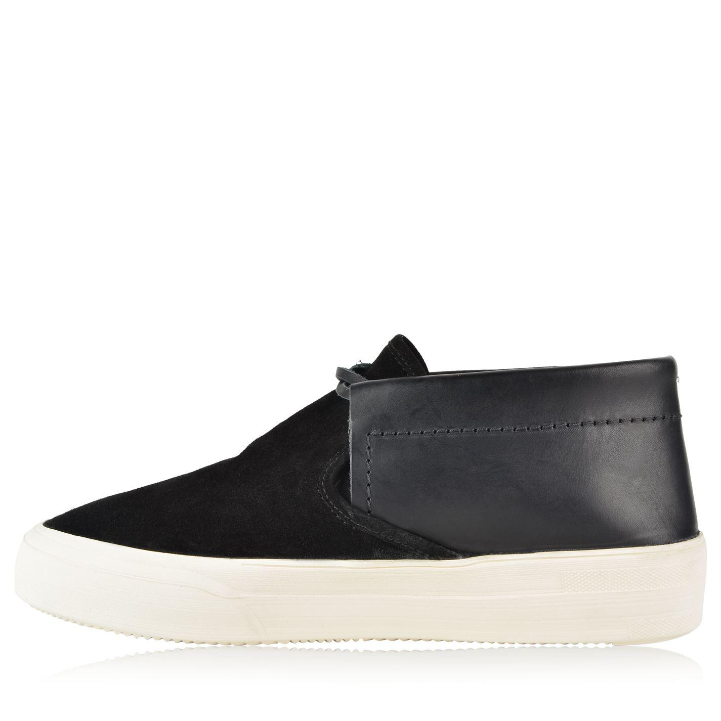 Maison Margiela Leather Contrast Mid Top Trainers in Black