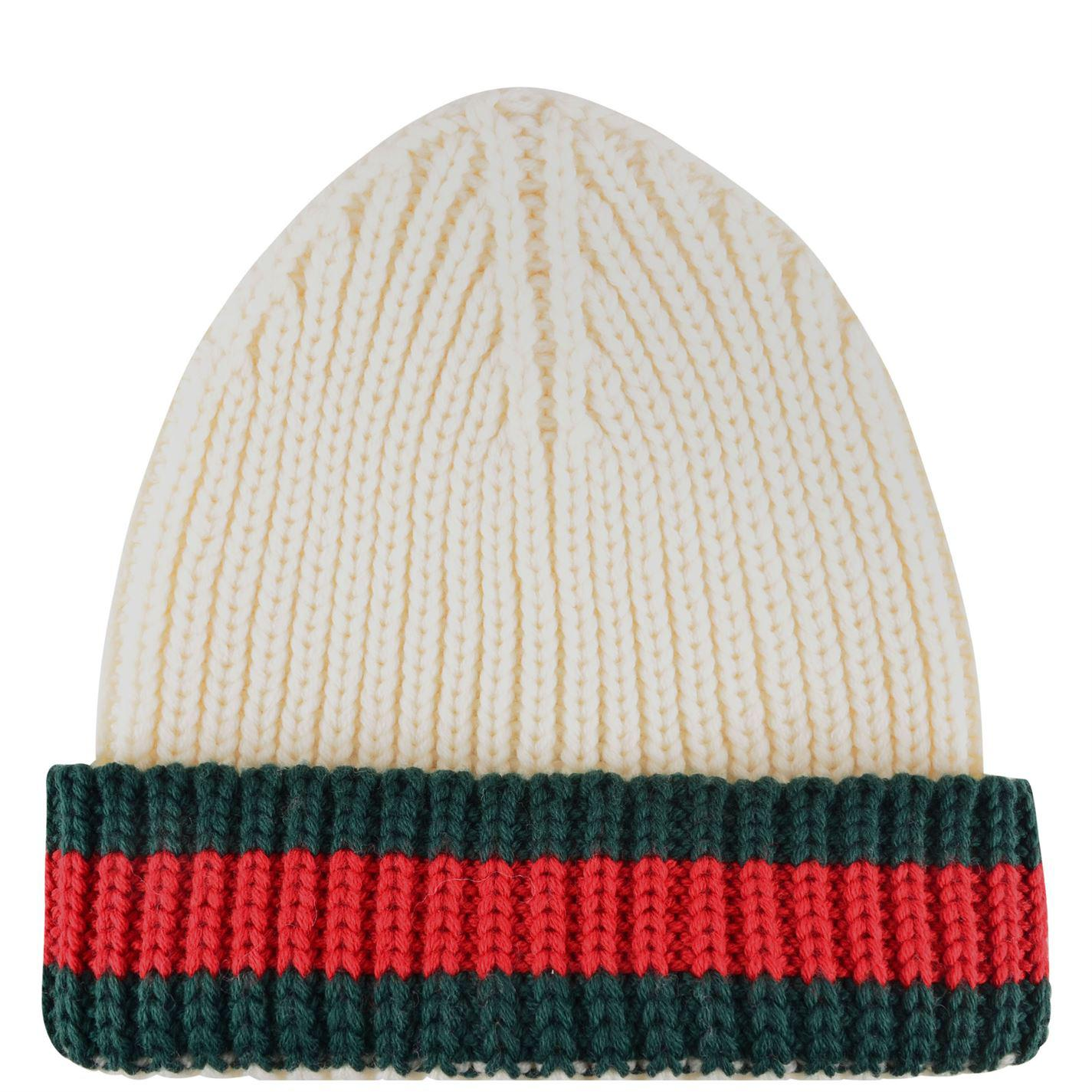 Lyst - Gucci Web Trim Beanie Hat in White for Men a49e3da2f759