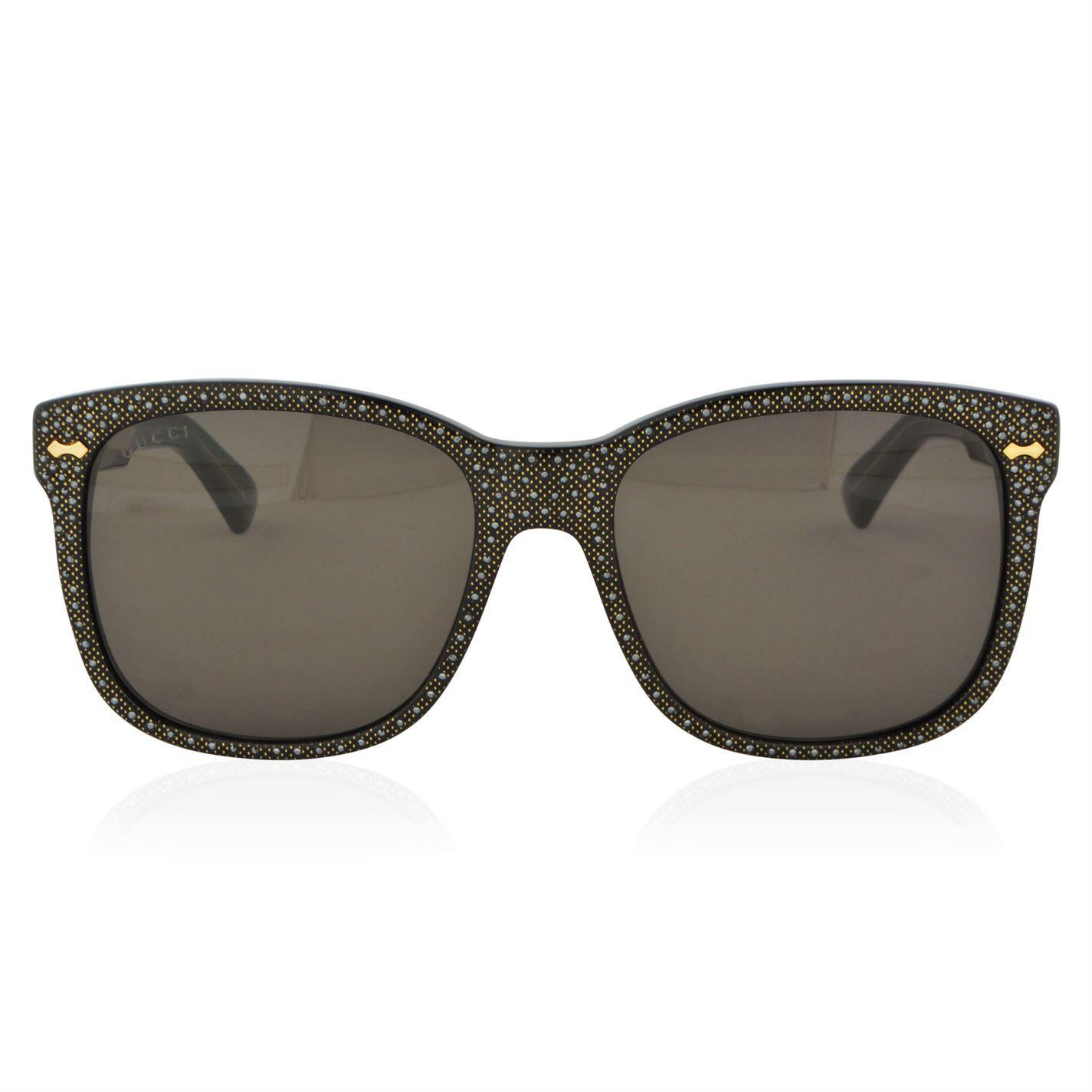 b69a5cc5cfa Gucci Gg0047s Square Frame Rhinestone Sunglasses in Black - Lyst