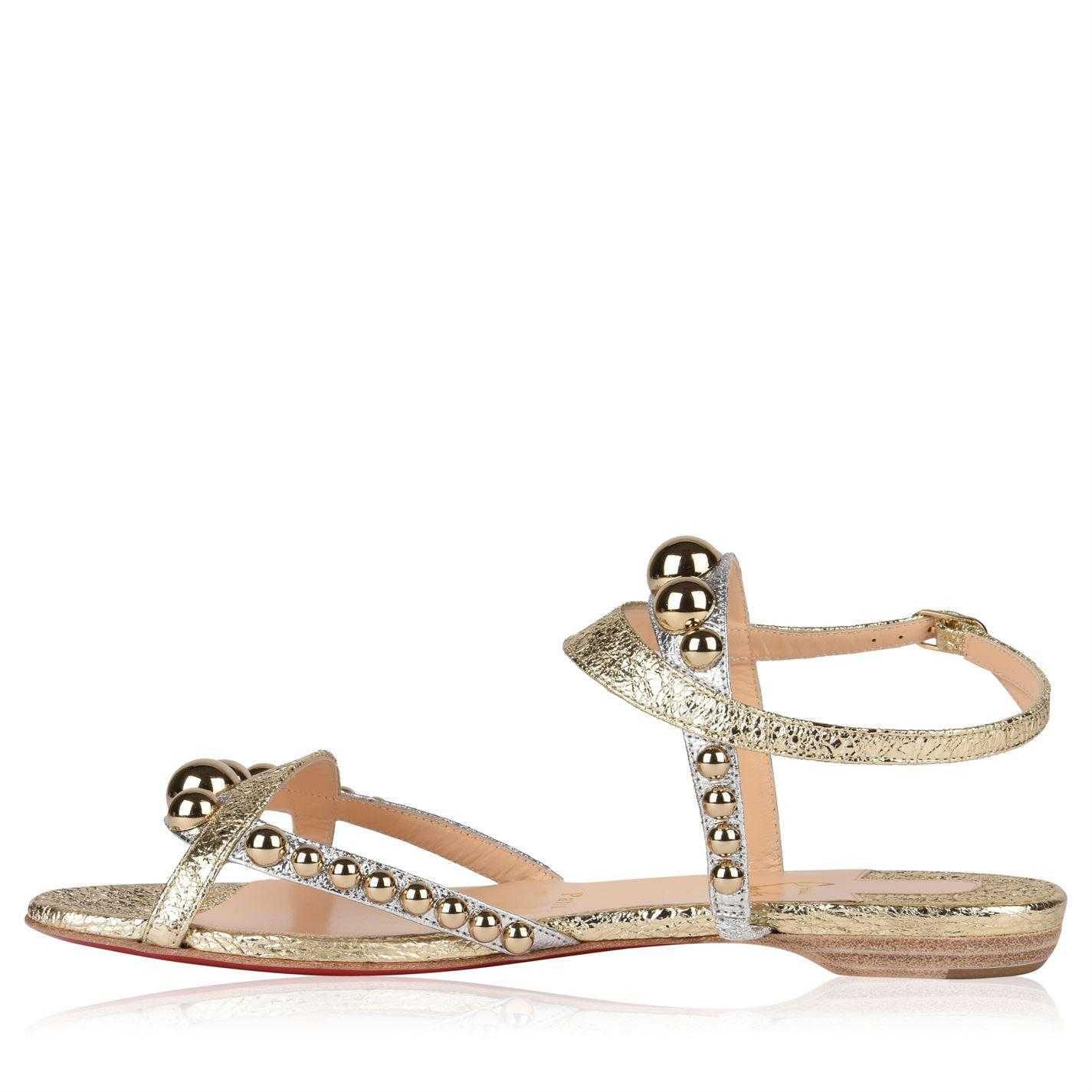 super popular da396 ba4ee best price louboutin bronze sandals flat 30e97 fe6bf