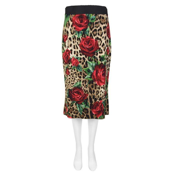 16881400e Dolce & Gabbana - Multicolor Leopard Print Rose Pencil Skirt - Lyst. View  fullscreen
