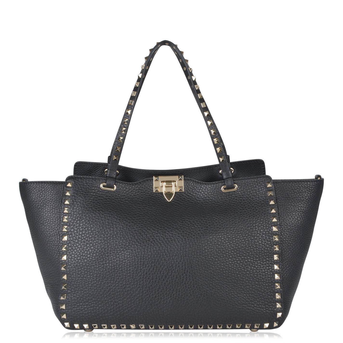 91690aa72 Valentino Rockstud Shopper Tote Bag in Black - Lyst