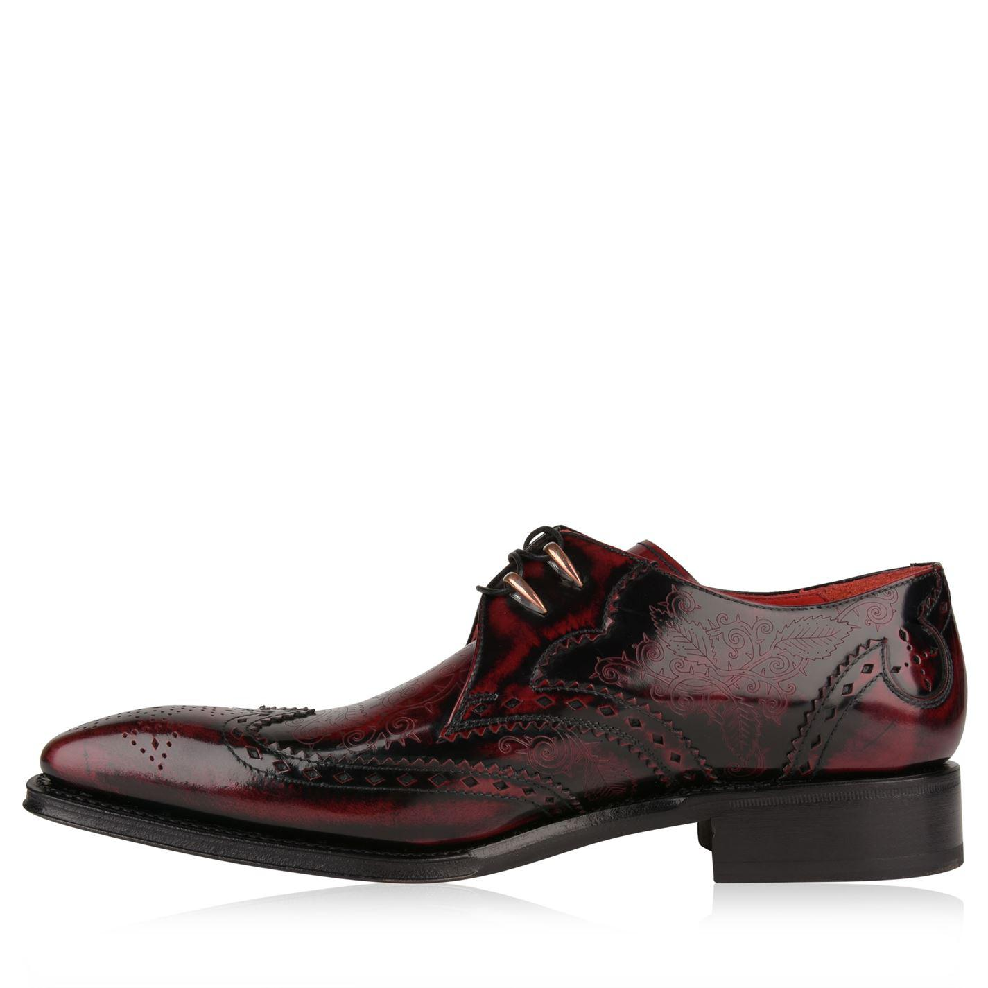 Jeffery West Leather Razor Wing Tip Brogues in Burgundy (Brown) for Men