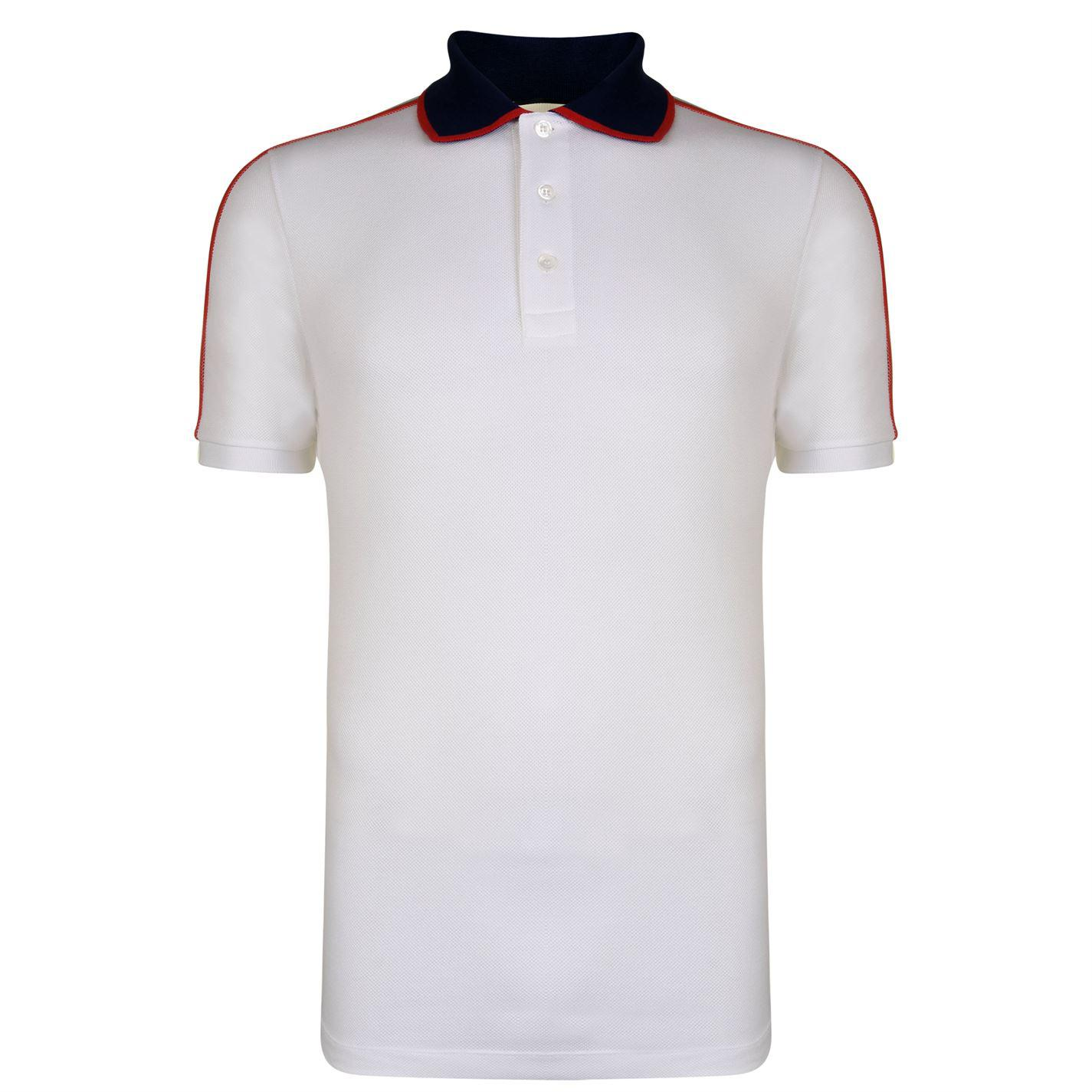 3c23f46e2b6 Gucci Ribbon Polo Shirt in White for Men - Lyst