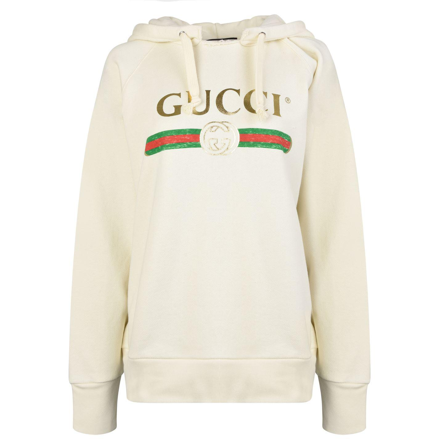 9c3357013 Gucci Embroidered Fake Logo Hooded Sweatshirt in White - Lyst