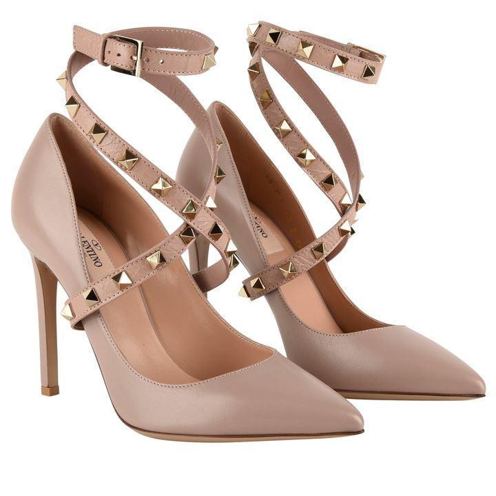 Valentino Leather Rockstud Ankle Strap